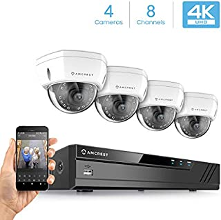 Amcrest 4K Security Camera System w/ 4K 8CH NVR, (4) x 4K (8-Megapixel) IP67 Weatherproof Metal Dome POE IP Cameras, 2.8mm Wide Angle Lens, Hard Drive Not Included, NV4108E-HS-IP8M-2493EW4 (White)