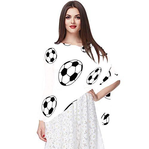 TIZORAX Damen Schal aus Seide, Fußball-Design