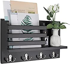 LIBWYS Wall Mounted Mail Holder with 4 Double Key Hooks Wooden Mail Sorter Letter Bills Magazine Organizer Rustic Home Decor (Black)