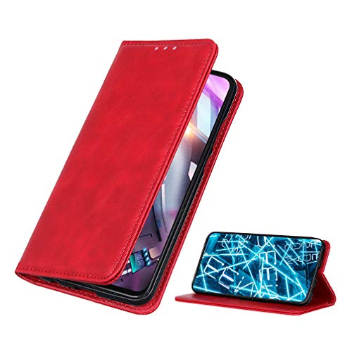 BRAND SET Funda para Xiaomi Poco M3 Pro Premium Cartera Estilo Flip de Piel Sintética Funda con Seguro Cierre de Cierre Magnético y Función de Soporte Carcasa para Xiaomi Poco M3 Pro(Rojo)