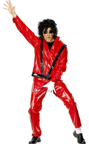 Who can forget the epic Thriller video? Recapture the moment look with this outfit which includes a red and black jacket and trousers and is ideal for Halloween and 80s parties. Medium or Large.