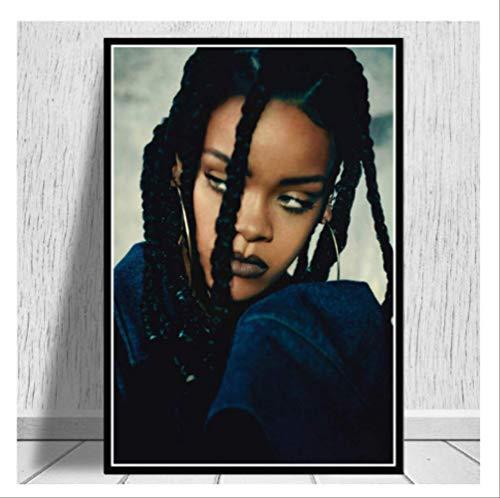 DPFRY Cuadro En Lienzo Rihanna Pop Star Singer Hip Hop American Art Painting Poster and Print Cuadro De Pared para Sala De Estar Decoración del Hogar Nl33T 40X60Cm Sin Marco
