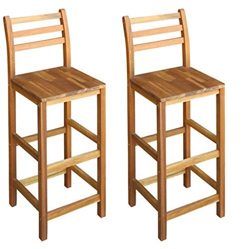 Festnight Barstühle 2 STK. | Rustikal Barhocker | Vintage Tresenhocker | Barstuhl 2er Set | Küchenhocker | Massives Akazienholz 42 x 36 x 110 cm