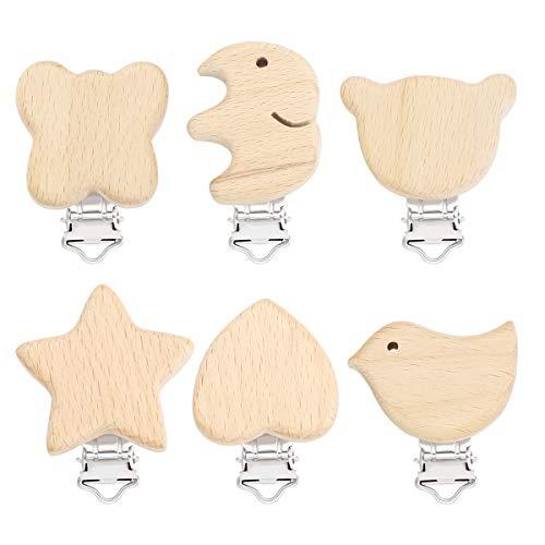 Toyvian Holz Schnullerclips Set Schnullerketten Clips Schnuller Halter Baby Beißring für Neugeborene Krankenpflege Spielzeug 6 Stücke