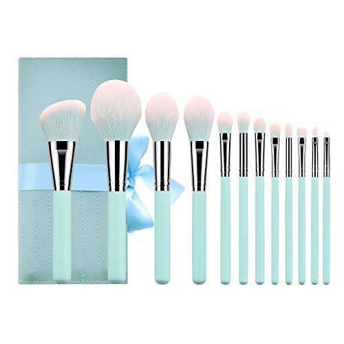 PanStro 12 brosses de toilette — sac en poils de nylon pour bouchons à manches en bois de haute qualité en bleu clair (Pinceau de maquillage et trousse de toilette)