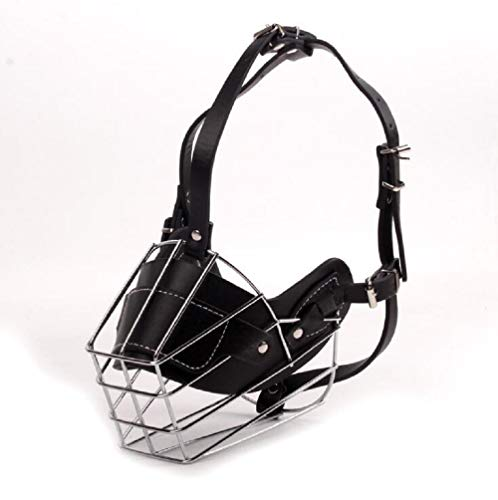 Mentrion Dog Muzzle Wire Basket Rottweiler Adjustable Leather Straps for Small, Medium, Large and X-Large Dogs, Stop Biting, Barking and Chewing, Best for Aggressive Dogs (XXL)