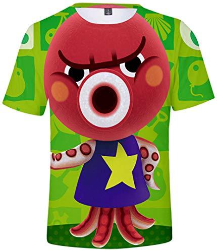 Silver Basic 3D lustige Sportswear T-Shirts Animal Crossing Atmungsaktiv Cosplay Kostüm Tier Wald Gedruckt Kurzarm Rundhals T-Shirt,02703-S4