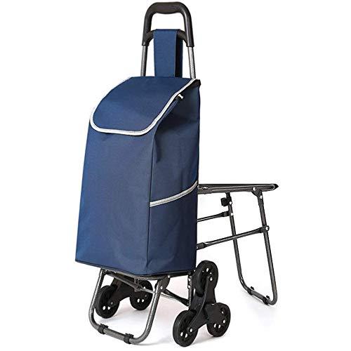 ZWXXQ Kaufwagen 6 Räder faltbar für den doppelten Gebrauch zu Hause mit Stuhl Warenkorb Kaufwagen wasserdicht Klettern Sitz-26x30x93cm EIN