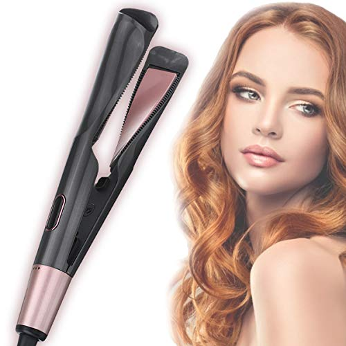 LIUMY Professional Salon Hair Straightener and Curler 2 in 1, 8 Sets Tourmaline Ceramic Twisted Flat Iron, Suitable for All Hair Quality (black)