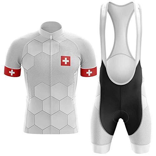 Maillot De Ciclismo Conjunto Para Hombre,Hexágono Blanco Bandera Suiza Mtb Ropa De...