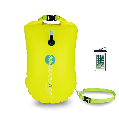elkuz Swim Buoy 28L con Bolsa Seca y Funda Impermeable para teléfono móvil, bañador Hinchable de Agua Abierta Flotador de Burbujas para Nadadores, triatletas, snorkelers y natación Segura, Naranja …