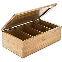 Relaxdays 10018875 - Caja para bolsitas de té (Madera de bambú Natural, con Tapa, 4 Compartimentos)