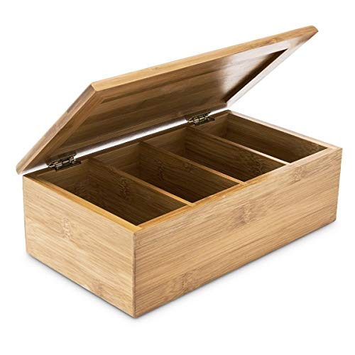 Relaxdays 10018875 - Caja para bolsitas de te (Madera de bambu Natural, con Tapa, 4 Compartimentos)