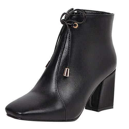 Plot Damen Stiefeletten mit Absatz Elegant Einfarbig Ankle Boots Lackleder Casual Stiefel mit Blockabsatz Square Toe Herbst Winter Bequem rutschfest Kurze Stiefel