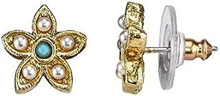 Simulated Pearl Flower Stud Earrings
