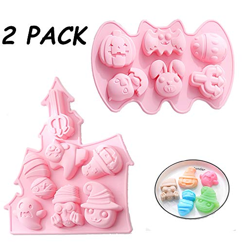 Halloween Silicone Baking Molds, 2pcs Nonstick Cake Pan with Pumpkin Bat Skull Ghost Shape, Food Grade Silicone Mold Set for Chocolate, Candle, Jelly, Pudding, Handmade Soap Kitchen DIY Baking Tools