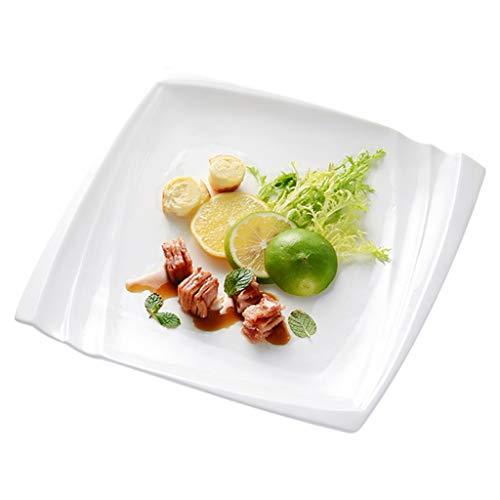 Plato de filete de cerámica, plato de pasta cuadrado, plato plano de color blanco puro, resistente al calor y a los arañazos, vajilla saludable para el hogar, múltiples tamaños disponibles