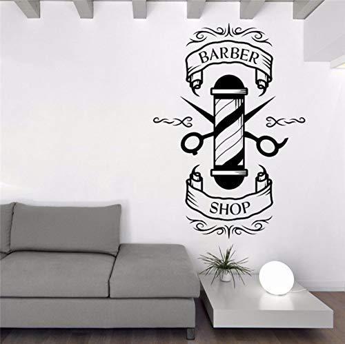Kreative Cartoon Friseur Schere Schnurrbart Friseure Schönheitssalon Haarschnitt Salon Wandkunst Vinyl Aufkleber Fenster Aufkleber 42X56Cm