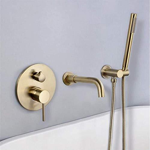 Zixin Messing Wand befestigte Badezimmer-Badewannen-Hahn Set Duschkopf Kopf + Mischbatterien Handbrause Bürste Gold Schwarz Badarmaturen