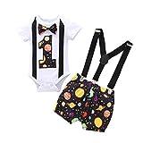 Conjunto de 3 piezas para bebé, para primer cumpleaños, con pajarita, pelele y pantalone...
