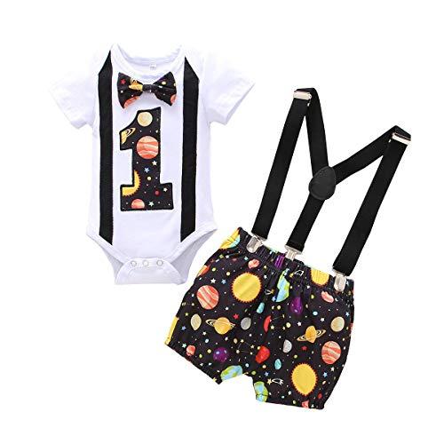 Conjunto de 3 piezas para bebé, para primer cumpleaños, con pajarita, pelele y pantalones, para boda, bautizo, esmoquin, disfraz de caballero, para sesión de fotos, disfraz Negro 9-12 Meses