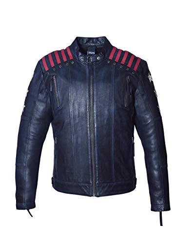 Chaqueta Moto Hombre en Cuero | URBAN 5884 Rising Star | Chaqueta Piel Moto con Protectores CE Extraíbles para Espalda, Hombros Y Codos | Negro, Talla S