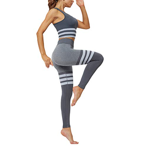 Yying Frauen Sport Active Wear Gym Yoga Fitness Workout Kleidung Legging Set Jogging Anzüge für Training Damen Sport BH Hosen