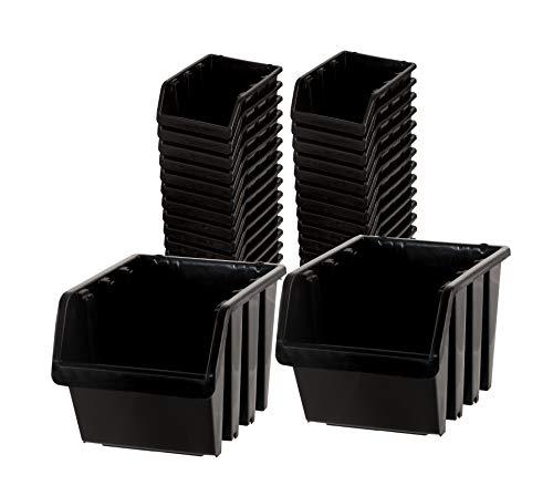 BigDean Sichtlagerboxen Set 33 Stück schwarz Größe 2 15,5x10x7 cm - nestbar & stapelbar - Ordnungssystem für Werkstatt, Keller & Garage