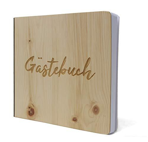Gästebuch mit edlem Echtholz Zirbenholz Cover in der Größe 20 x 20cm 192 beschreibbare Seiten hochwertiges Papier