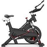 Bicicleta de spinning para interior con manillar y asiento de altura ajustable, sistema de transmisión por correa silencioso, pantalla LCD, carga máxima de 180 kg