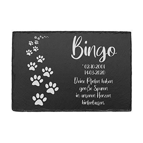 kultdog 9 Motive, Tiergrabstein mit Gravur - Grabstein aus Schiefer - Gedenkstein für Hund & Katze - Grabschmuck für Urnengrab - Gedenktafel personalisiert - Pfotenspuren