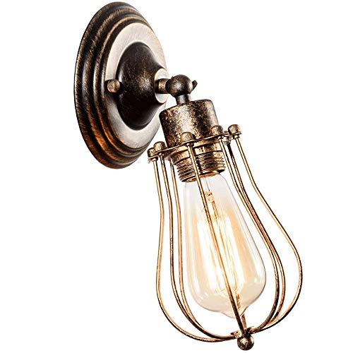 WXH-00 Tenedor De Velas De Pared Industrial, Iluminación Anticuada, Lámpara Ajustable, Alambre Antiguo, Lámpara De Pared De Jaula Metálica (sin Bulbo)