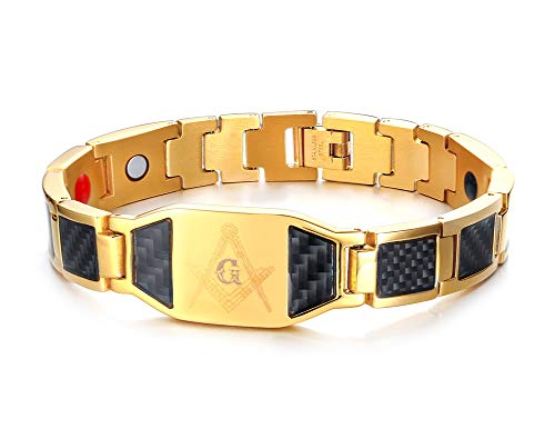 XUANPAI Carbon Fiber Stainless Steel Magnetic Therapy Gold ID Tag Masonic Symbol Wristband Bracelet Adjustable