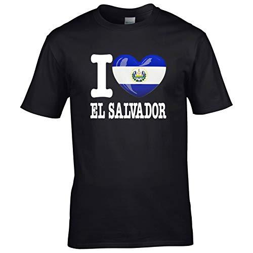 FanShirts4u Kinder T-Shirt - I Love EL Salvador - WM Trikot Liebe Herz Heart (12/14 Jahre 152-164 cm, I Love EL Salvador - Schwarz)