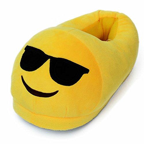 Emoji Size 3-5 Novedad Felpa Pantuflas niños niñas Damas para Hombres cómodos diversión Cheeky Llorando con Risa Ojos del corazón (Cool (Gafas de Sol))