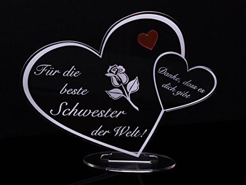 Acryl Schild in Herz Form Für die Beste Schwester der Welt die perfekte Geschenkidee, mit Lasergravur, Geschenk, 205 mm x 170 mm (Für die Beste Schwester der Welt!)