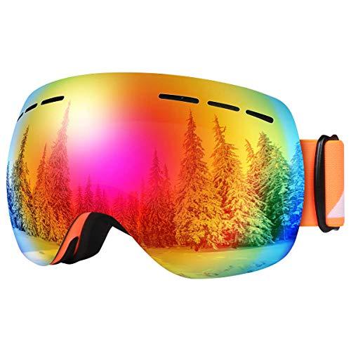 BFULL Skibrille Für Damen und Herren Kids Brillenträger Skibrille 100{43227d8611abf776999a86c4589ec439b48d3ee5970141b72deb9da9d18ec00e} OTG UV400 Anti-Fog UV-Schutz Skibrillen Snowboard Skibrille Schutz Ski Goggles (Gray-revo red Lens VLT 8.5{43227d8611abf776999a86c4589ec439b48d3ee5970141b72deb9da9d18ec00e})