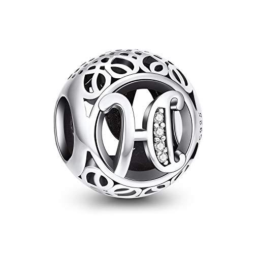 NINGAN Charm-Anhänger, 925 Sterlingsilber, Motiv: Buchstabe des Alphabets, für Armbänder, kompatibel mit europäischen Armbändern (Buchstabe H)