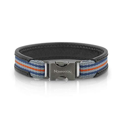 Nomination Large Black Leather Cruise Bracelet for Men with Gray Blue Gray Orange Cotton