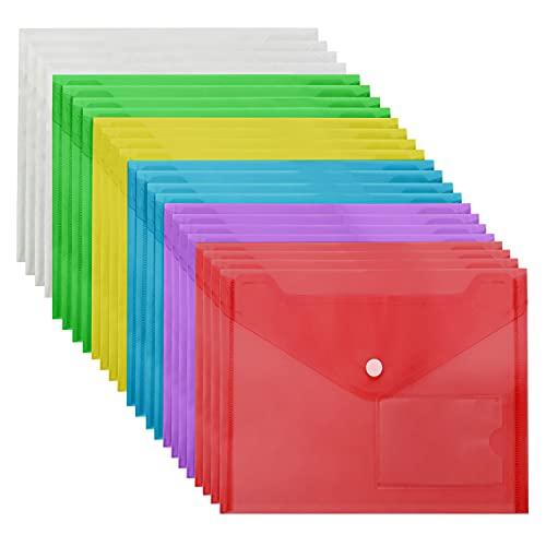 Belle Vous Carpeta para Documentos A5 Plástico Transparente (Pack de 24) Carpetas Sobre Colores Variados Cierre de Botón y Bolsillo Tarjeta Etiqueta – Hogar, Oficina y Escuela, Papelería, Docu