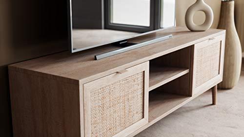 Newfurn TV Lowboard Sonoma Eiche Rattan Optik TV Schrank Modern Skandinavisch - 150x52x40 cm (BxHxT) - Fernsehtisch TV Board Rack Boho - [Mila.Eight] Wohnzimmer - 7