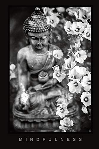 Buddha 'Mindfulness' Journal (Black & white cover, floral, Buddha statue w/flowers): Buddhism Notebook / Composition Book (Lined Journals for Buddhist Practitioners)