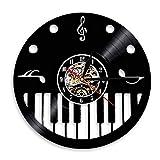 AnnQing Piano Keys y Treble Clef Vinyl Record Reloj de Pared Pianista Artista Musical Studio Room Decoración de Pared Reloj Vintage Piano Wall Art-Without Led
