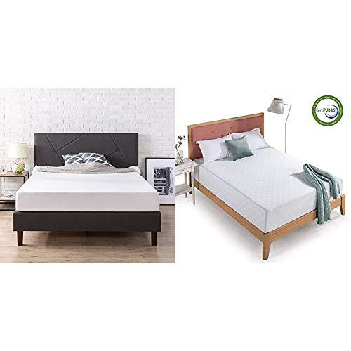 Zinus Judy Upholstered Platform Bed Frame, Queen & 12 Inch Gel-Infused Green Tea Memory Foam Mattress, Queen
