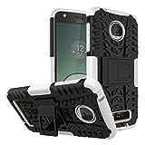 Sangrl Funda para Motorola Moto Z Play, Robusto y Durable Bumper Híbrida Resistente 2 en 1 Armadura Protectora Armadura Arañazos Case Anti caída Case - Blanco