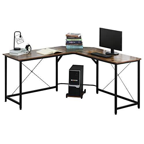 HOMCOM Computertisch, L-förmiger Eckschreibtisch, Schreibtisch, Bürotisch, E1 Spanplatte +Metall, Schwarz+Braun, 150 x 150 x 75 cm