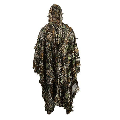 HYFAN Ghillie Suit Poncho Outdoor 3D Leaves Camouflage Camo Cape Cloak for Military, CS, Jungle Hunting, Paintball, Airsoft, Wildlife Photography, Halloween (Woodland)