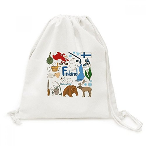 DIYthinker Finnland Landscap Tiere Nationalflagge Canvas-Rucksack Reisen Shopping Bags