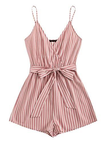 SweatyRocks Women's Sexy V Neck Striped Spaghetti Strap Beach Romper Shorts Jumpsuit Pink S