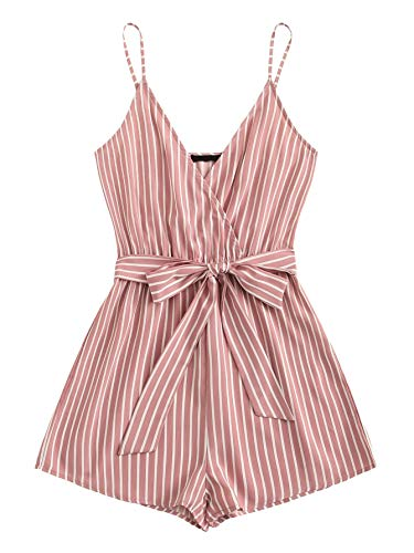 SweatyRocks Women's Sexy V Neck Striped Spaghetti Strap Beach Romper Shorts Jumpsuit Pink M